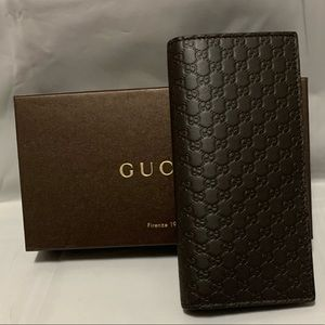 Gucci long bifold wallet in brown microguccissima